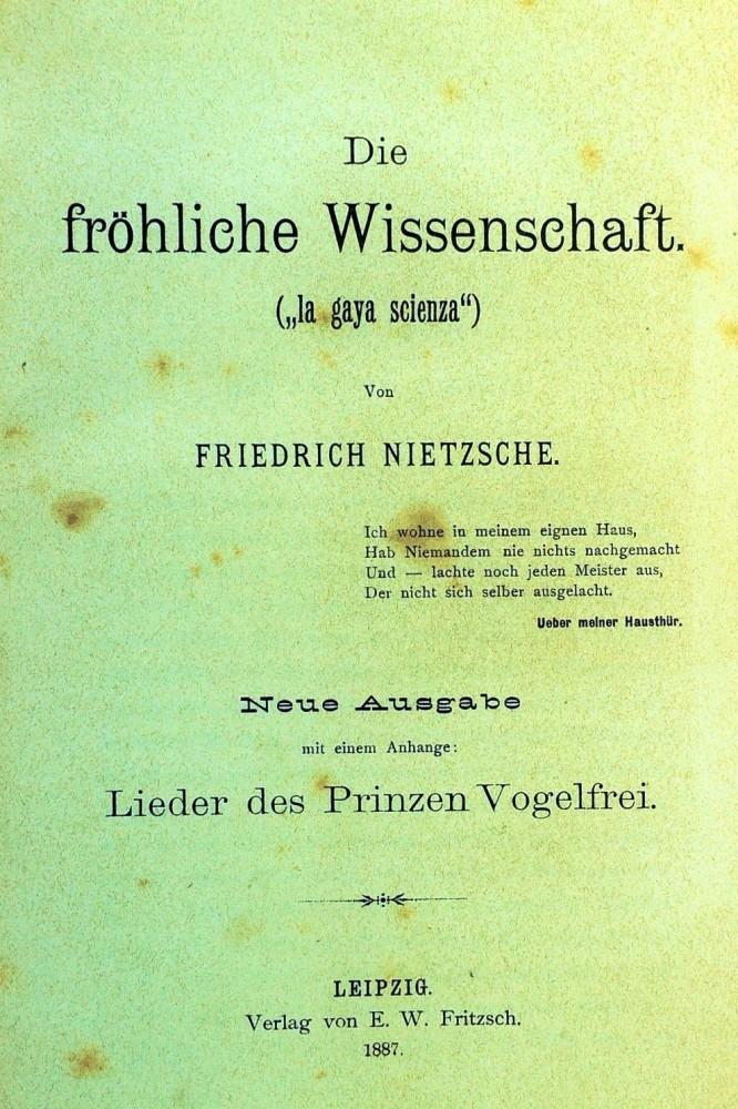 """Die fröhliche Wissenschaft (""""La gaya scienza"""")"""